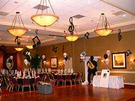 Decor for a music theme mitzvah party