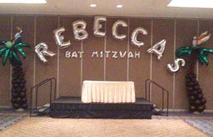 Wall sign of mylar letter balloons for Rebecca's Bat Mitzvah