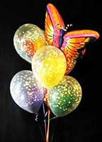 A beautiful Mylar® balloon butterfly accompanying star cover bubble balloons provides a perfect vehicle for a variaty of messages...from a simple