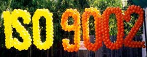 ISO9002 sign created from balloons for a Silicon Valley company employee quality celebration logo for Silicon Valley company