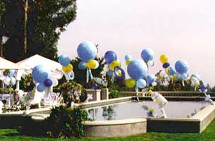 These balloon arches floating over the swimming pool have giant balloon baby pacifiers in the middle for an outdoor baby shower event