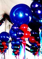 Red and Blue floating bubbles carry the event color them through out the venue