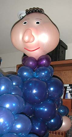 This seven foot tall balloon sculpture of Candide was sculpted for a cast party which followed a high school presentation of 'Candide'