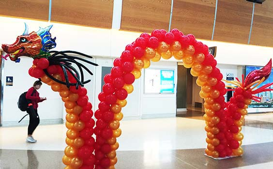 This 20' long sculpture of a Chinese dragon is for an Air China marketing event at the San Jose Airport.