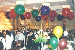 Exploding style balloon drop using 30 inch jewel color balloons
