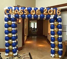 Blue and Gold balloon arch entrance decoration for a grad night party