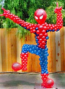 A seven foot tall balloon sculpture of Spiderman
