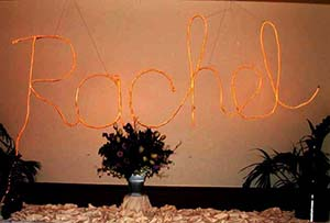 Rope lighting name wall sign for a Bat Mitzvah