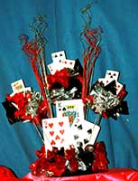 A casino card theme table centerpiece