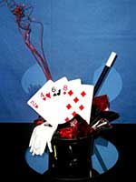 A magic style hat filled with cards for casino events that include a magic theme